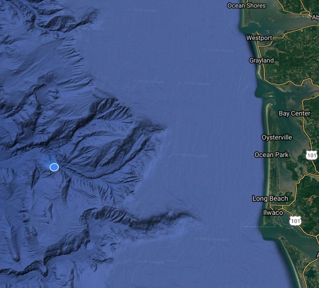 GPS location on map in the Pacific Ocean